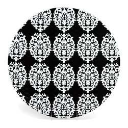 "Q Squared NYC - 16.5"" Round Platter Victorian - Black/White Emblems - This playful serving platter combines old-school Victorian design with easy-care melamine, for luxurious looks and limitless uses. The easy-grip hammered finish and generous size make this perfect for entertaining indoors or out."