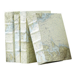 Set of 6 Nautical Charts Cover Books - The Nautical Charts Cover Books are delightful inside and out. Repurposing sea charts into appealing paper covers, the six books in each set are unique; they're a surprise collection of genuine vintage books with varied sizes and assorted styles of ribbing on their weighty spines. These books are a pleasure to hold and a perfect addition to the visual landscapeor seascape of your room.