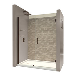 DreamLine - DreamLine SHDR-20607210S-06 Unidoor 60 to 61in Frameless Hinged Shower Door, Cle - The Unidoor from DreamLine, the only door you need to complete any shower project. The Unidoor swing shower door combines premium 3/8 in. thick tempered glass with a sleek frameless design for the look of a custom glass door at an amazing value. The frameless shower door is easy to install and extremely versatile, available in an incredible range of sizes to accommodate shower openings from 23 in. to 61 in.; Models that fit shower openings wider than 31 in. have an adjustable wall profile which allows for width or out-of-plumb adjustments up to 1 in.; Choose from the many shower door options the Unidoor collection has to offer for your bathroom renovation. 60 - 61 in. W x 72 in. H ,  3/8 (10 mm) thick clear tempered glass,  Chrome, Brushed Nickel or Oil Rubbed Bronze hardware finish,  Frameless glass design,  Width installation adjustability: 60 - 61,  Out-of-plumb installation adjustability: Up to 1 in. one side (total 1 in.),  Self-closing solid brass wall mount hinges,  Stationary glass panel with two glass shelves,  Door opening: 29 in.,  Stationary panel: 30 in.,  Material: Tempered Glass, Aluminum