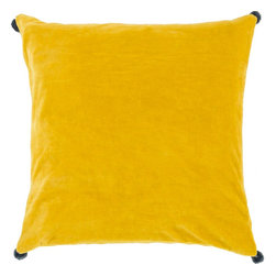 """Surya - Surya VP-007 Vivacious Velvet Pillow, 20"""" x 20"""", Poly Fiber Filler - Both fun and functional, this is the perfect pillow to update your home's decor. Featuring a solid yellow backdrop paired harmoniously with intricate green pom poms added to each corner, this pillow is a classic solution to renovating any space. This pillow contains a zipper closure and provides a reliable and affordable solution to updating your home's decor. Genuinely faultless in aspects of construction and style, this piece embodies impeccable artistry while maintaining principles of affordability and durable design, making it the ideal accent for your decor."""