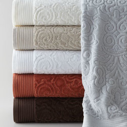 "Peacock Alley - Peacock Alley Bath Towel - Soft and plush towels by Peacock Alley&#153 reverse from modern velour jacquard to terry cloth. Shown from top to bottom: Glacier, Ivory, Linen, White, Terra Cotta, or Chocolate; please select color when ordering. Made in Portugal of pure, 600-gram cotton. Bath towel, approximately 27"" x 54"". Ha"