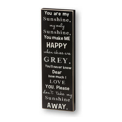 Collins - 'You Are My Sunshine' Box Sign - Personalize the living space with a piece that shouts with character. This playful plaque is ready to display with a wire hanger and makes any room feel special.   7.5'' W x 22.5'' H x 1.5'' D Wood Ready to hang Imported