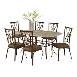 Hillsdale Furniture - Hillsdale Brookside 7-Piece Rectangle Dining Room Set with Diamond Back Chairs - Our Brookside dining collection features the lustrous depth and beauty of fossil stone and the classic effect of transitional designs. A thick patterned ivory colored fossil stone veneer graces the sturdy  metal bases on the dining table, bistro table and buffet. The chairs and stools are available in two styles, a more traditionally scrolled design which boasts an oval fossil stone motif and a more gracefully scrolled metal work, or a more transitional diamond fossil stone motif with a more angular, contemporary design. Both styles have a micro suede seat fabric for easy care and long lasting beauty.