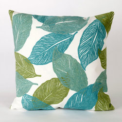 """Liora Manne - Mystic Leaf Square Indoor/Outdoor Pillow in Aqua - Features: -Available in 16.5"""" or 20.5"""" sizes. -Color: Aqua. -Content: 100% Polyester Microfiber. -Backing: 100% Polyester. -Handmade. -Indoor/Outdoor and antimicrobial. -Removable cover can be hand-washed. -Shape: Square. -Easy care and maintenance. -Combines intricate hand crafting with modern technology. Specification: -16"""" Dimensions: 16"""" H x 16"""" W x 5"""" D, 2 lbs. -20"""" Dimensions: 20"""" H x 20"""" W x 5"""" D, 2 lbs."""