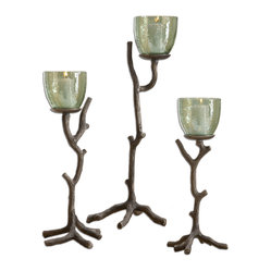 Uttermost - Desi Candleholders, Set of 3 - Make a statement on your console, sideboard or even as a centerpiece surrounded with small, fresh greens. These sculpted tree branches hold translucent green glass globes. You'll bring the outside in and the white candles are included.