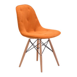 None - Probability Orange Velour Chair - Combining both modern and retro elements, the Probability Chair is designed to add a fashionable pop of rich color to your home decor. This chair features solid and sturdy wood legs as well as a soft orange velour seat with diamond-tufted accents.