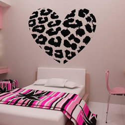 ColorfulHall Co., LTD - Heart Wall Decals Shape Art Decoration Jungle Leopard Print - Heart Wall Decals Shape Art Decoration Jungle Leopard Print