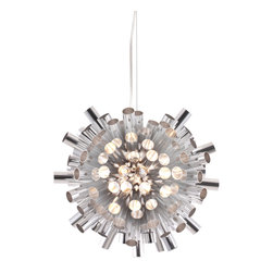 Zuo - Extravagance Chrome Ceiling Light Fixture - Go ultra modern with the Extravagance Chrome ceiling light fixture.  The aluminum pipes take this industrial style piece into the next millennium with a chic chrome coating that makes this fixture shine.  Light is pushed through each aluminum tube giving a unique ambience to your space.  The Extravagance chrome ceiling light fixture will fill the room with a subtle glow, but the fixture itself will make a statement in your living room or dining area.  This light fixture can be the starting point for a chic, modern look achieved with other chrome accessories.