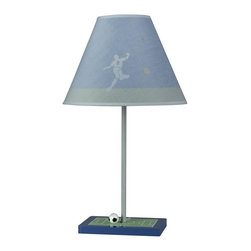 Cal Lighting - 60W Juvenile Soccer Lamp in Blue Finish - Requires 60W bulb (not included). Soccer lamp. Height: 21 in.. Base: 8 in. x 6 in.