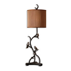 Uttermost - Three Little Birds Buffet Lamp - Metal branches finished in a rustic bronze with heavily antiqued silver details and burnished edges. The round drum shade is made of natural woven bamboo with silkened bronze trim.
