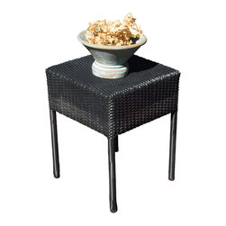 Great Deal Furniture - Edgar Outdoor Wicker Side Table, Black - The Edgar outdoor side table is stylish and convenient for your outdoor needs. You can place this table poolside, backyard porch, or near your seating area to serve snacks and beverages. Made of environment-friendly synthetic wicker, you'll find many uses for this table.