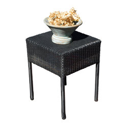 Great Deal Furniture - Edgar Outdoor Black Wicker Side Table - The Edgar outdoor side table is stylish and convenient for your outdoor needs. You can place this table poolside, backyard porch, or near your seating area to serve snacks and beverages. Made of environment-friendly synthetic wicker, you'll find many uses for this table.