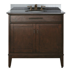 Avanity - Madison 36 Vanity Combo Tobacco, Black Granite Top - The Madison 36 in. vanity combines function with style. The vanity is designed with strong attractive lines and finished in Tobacco with old bronze hardware. It is constructed of solid poplar wood and veneer with soft-close door hinges. The vanity comes with a black granite top and undermount sink. Also available is a matching mirror, mirror storage cabinet and linen tower to complete your bathroom.
