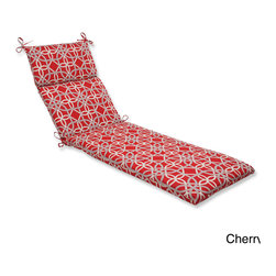 Pillow Perfect - Pillow Perfect Keene Chaise Lounge Outdoor Cushion - Lounge around in style and comfort on this weather- and UV-resistant outdoor chaise lounge cushion with ties. Infused with a unique contemporary geometric pattern, this chaise lounge cushion includes a new and improved polyester fiber filling.