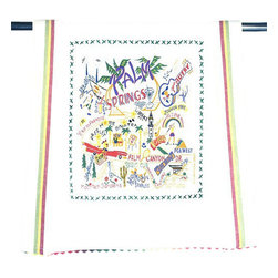 CATSTUDIO - Palm Springs Dish Towel by Catstudio - This original design celebrates the Palm Springs.  This design is silk screened, then framed with ahand embroidered border on a 100% cotton dish towel/ hand towel/ guest towel/ bar towel. Three stripes down both sides and hand dyed rick-rack at the top and bottom add a charming vintage touch. Delightfully presented in a reusable organdy pouch. Machine wash and dry.