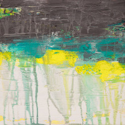 Lithosphere 108 (Original) by Hilary Winfield - Lithosphere 108 is an original, modern art painting from the Lithosphere series. This one-of-a-kind painting was created with acrylic paint on gallery-wrapped canvas. It has a width of 12 inches and a height of 12 inches with a depth of 1 inch (12x12x1). The edges of the canvas have been painted black, creating a finished look so the canvas does not require a frame.