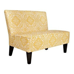 angelo:HOME Davis Modern Damask Golden Yellow & Cream Settee - Sleek and stylish, the angelo:HOME Davis Modern Damask Golden Yellow & Cream Settee features a cool, contemporary design with a retro flourish. Complete with a rolled back seat, high-curve back and slim, armless frame, this versatile settee is constructed of sturdy, mixed hardwood with tapered legs finished in roasted walnut. Covered in a golden yellow damask pattern on a creamy, off-white background, it's upholstered in durable poly-blend that's highly resilient and supported by a deep-seat cushion with thick-foam padding.This eco-friendly product features an efficient design that utilizes minimal fossil fuels in construction and delivery, and can be broken down for recycling at the end of its use. No tools required. Assemble in minutes.About angelo:HOME:When he was six, Angelo Surmelis and his family moved from Greece to the United States. In their new home, six-year-old Angelo started dragging furniture around, rearranging it. From that early age, he believed that your space - and the way it's arranged - can change the way you feel. This philosophy has landed him on design series on TLC, Lifetime, The Style Network, and HGTV, as well as several different television talk shows. Now, with Angelo's line of furniture and accessories, you can change your space - and the way you feel - quickly and affordably.