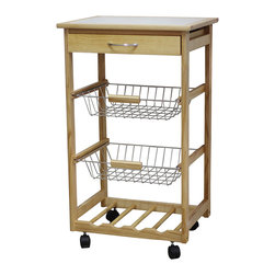 JA Marketing - Pinewood Wine Rack Kitchen Cart - Crafted from beautiful and durable bamboo, this elegant cart's pullout baskets, drawers and shelves provide ample storage for kitchen essentials.   Weight capacity: 50 lbs. 29.5'' W x 31.5'' H x 15'' D Wood Assembly required Imported