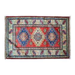 Hand Knotted Oriental Tribal Rug 2X3 100% Wool Sunset Red Fine Kazak Rug SH11236 - This collections consists of well known classical southwestern designs like Kazaks, Serapis, Herizs, Mamluks, Kilims, and Bokaras. These tribal motifs are very popular down in the South and especially out west.