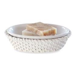 Lamont Home - Cayman White Rattan Soap Dish - The richness of rattan interpreted in white appoints a fresh collection of bathroom accessories with an elegant nuance.