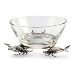 Crab Dip Bowl - Small - Lifelike crabs guard their treasure in a trio to enhance the detail of your tablescape.  When you place the Crab Dip Bowl on your cocktail table or sideboard, the seaside creatures provide a personal note with a nostalgic hint of the beach house.  A humorous take on classic guardian motifs from the history of sculpture, this nautical accent is amply sized and playfully elite.