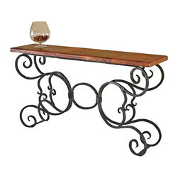 "Mathews & Company - Alexander Console Table with 60"" x 14"" Top - Transform any room, hallway or foyer with this striking console table. The exquisitely ornate iron work and gorgeous hammered copper top creates a dramatic effect that will catch the eye of anyone in the room. It's perfect for displaying knick-knacks, vases, candles or other decorations, or simply leave it empty as a fine work of art in its own right. But whatever you use it for, you won't want to hide the stunning beauty and elegance of this fine, hand-crafted piece. Pictured in Copper top and Black finish."