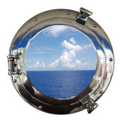 Handcrafted Nautical Decor - Deluxe Class Chrome Porthole Window 15'' - This Deluxe Class Chrome Porthole     Window 15''  adds sophistication, style, and charm for those        looking  to   enhance       rooms with a nautical theme. This boat       porthole   has a   sturdy,  heavy and      authentic appearance,  and is      made of chrome and  glass which can easily be hung to grace  any    nautical    theme wall. Our nautical   porthole window     makes   a   fabulous style    statement in any room  with    its classic  round         frame, nine    metal-like rivets and two  dog  ears.   This  marine    porthole mirror        has an 10'diameter and 3'deep when  dog-ears are    attached, 1.5'' deep    without dog ears   attached.----Dimensions: 15'Long x 3'Wide x 15'High--NOTE: This is a decorative porthole window (the     center is clear glass which can be left in port hole or taken out).     Mounting hardware not included with purchase.----    Functional porthole window that will open and close by loosening dog ears--    --    Handcrafted from solid chrome by our master artisans--    Decorative yet fully functional port hole window decoration--    Realistic nautical decor - modeled after an antique 19th-century ship's porthole--    --    Great porthole wall decor and an instant conversation piece--