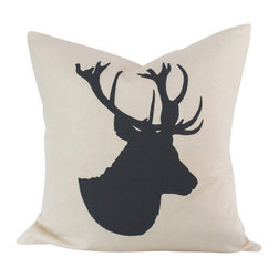 "Cushion Cut Decor - Stag Deer Faux Taxidermy Silhouette Pillow Cover, 18 Inches - Throw pillow cover, fits one 18"" x 18"" throw pillow."