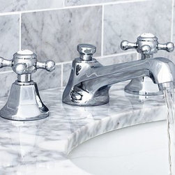 "Cole Faucet, Satin Nickel finish - Built to the highest industry standards, our low-flow Cole Faucet is crafted of solid-brass components with a choice of four beautiful finishes. Crafted of brass, with a smooth rust-resistant finish. Rounded cross-hatch handles with vintage-style lettering. Fits sink openings with an 8""-wide spread. See available finishes below. Professional installation required. {{link path='pages/popups/sink_col_fau_popup.html' class='popup' width='720' height='800'}}Learn more{{/link}} about how to install this faucet. View our {{link path='pages/popups/fb-bath.html' class='popup' width='480' height='300'}}Furniture Brochure{{/link}}. Catalog / Internet Only."