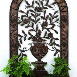 Le Jardin Tole Wall Planter - Forget just another painting or mirror. Decorate your walls with something that's truly unique.  This cute tole Wall planter would work well outside, too.  The detail work on this piece is really amazing.