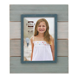 Prinz - Blue & Gray Plank Newport Frame - Show off photos of your family's beach vacation with this handsome frame that offers a sturdy wood construction and a four-plank design. Its two-way easel allows for vertical or horizontal display.   Includes frame and hanging hardware Wood Easel-back Imported