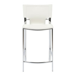 Euro Style - Euro Style Vinnie Counter Chair Set of 2 17213WHT - Leather might be at the top of your list and the Vinnie collection delivers. The clever uniqueness of these chairs is in the slim, cutaway leather on the seat back. It's a pleasing shape for a very popular grouping.