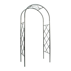 Achla - Lattice Arbor I - Create an elegant garden entrance with an Achla Designs handcrafted arbor. Tall enough to support climbing vines with ample room for passage beneath. Ships flat and is easily erected without tools using slip-in components. Includes display feet for use indoors, for weddings or events, or on hard surfaces. Graphite powder coated. Easy slip-in components; no tools necessary. Includes display feet. Construction Material: Wrought Iron. Assembly Required. 41 in. W x 21 in. D x 92 in. H (42 lbs.)