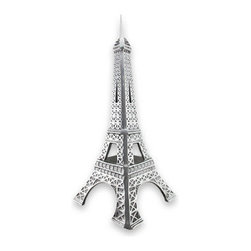 Polished Aluminum Eiffel Tower Statue 21 In. - This cast aluminum Eiffel tower is a wonderful addition to the home or office of the worldly traveler. It stands 21 inches tall, has a 9 1/4 inch square base, and is polished to a beautiful sheen. It looks lovely in Parisian themed rooms, and adds an eye catching accent wherever it is displayed.