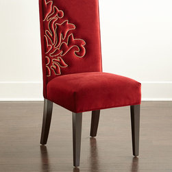 """Haute House - Miguel Left Dining Chair - CRANBERRY - Haute HouseMiguel Left Dining ChairDetailsEXCLUSIVELY OURS.Alder wood frame.Acrylic/polypropylene upholstery with nailhead design.19.5""""W x 23""""D x 42""""T; seat 19.5""""W x 19""""D x 19.5""""T. Handcrafted in the USA.Boxed weight approximately 44 lbs. Please note that this item may require additional shipping charges.Designer About Haute House:Haute House is a Hollywood-based design and manufacturing company that creates haute couture furnishings for the home. Designer and owner Casey Fisher has been designing furniture for years as an upholstery textile and retail space stylist. Instead of designing a line offering just one look the Haute House line consists of three looks that offer something for every taste. However there is one element present in every Haute House design a great sense of style."""