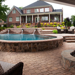 Pools & Spas - Project installed by Overstream. Photo courtesy of Belgard Hardscapes.
