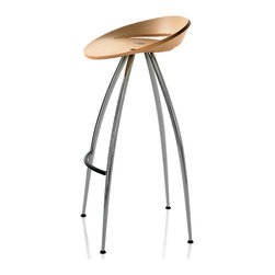 Magis - Lyra Stool, Set of 4 - Set 'em up, Joe or Josephine. This set of four stools would be perfect at your kitchen island or counter height breakfast bar. The curvy seats are made of bent plywood in a natural beech finish. And the four shapely legs and coated footrest are covered in cool chrome.