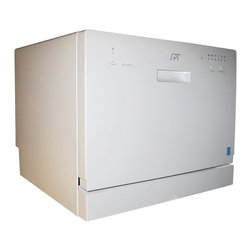 """Sunpentown - Countertop Dishwasher, White - Perfect for apartments, office kitchens or any small-sized kitchens; offers full-size power in a compact design. With a height of only 17.24"""", this unit will fit between most countertop and cabinetry. Spacious cavity loads up to six standard place settings. features easy controls, durable stainless steel interior and water temperature up to 148F. Quick connect to any kitchen faucet eliminates the need for direct plumbing or permanent installation ."""