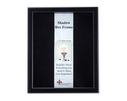 """Lawrence Frames - Black Wood Shadow Box 11x14 Picture Frame - This high quality wood shadow box frame comes with everything you need to create the perfect memory box.  With 1.75"""" of space inside (between the glass and felt display board), you will have plenty of room to add treasured items, photos, and clippings.  A self adhesive hook and loop strip is included that can be cut and placed anywhere you wish on the black felt inner lining.  This beautiful shadow box frame is constructed with quality in mind and is joined in the corners with a """"spline"""" joint for years of enjoyment.  The molding is approximately 3 4 """" wide, and 2 5 8"""" deep.  This shadow box frame comes individually boxed, and includes high quality black wood backing.  These display boxes can stand on their own for tabletop display, or can be displayed on the wall with included hangers for vertical or horizontal wall mounting."""