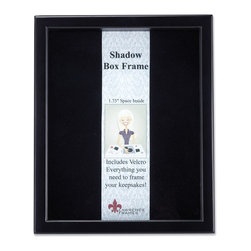 "Lawrence Frames - Black Wood Shadow Box 11x14 Picture Frame - This high quality wood shadow box frame comes with everything you need to create the perfect memory box.  With 1.75"" of space inside (between the glass and felt display board), you will have plenty of room to add treasured items, photos, and clippings.  A self adhesive hook and loop strip is included that can be cut and placed anywhere you wish on the black felt inner lining.  This beautiful shadow box frame is constructed with quality in mind and is joined in the corners with a ""spline"" joint for years of enjoyment.  The molding is approximately 3 4 "" wide, and 2 5 8"" deep.  This shadow box frame comes individually boxed, and includes high quality black wood backing.  These display boxes can stand on their own for tabletop display, or can be displayed on the wall with included hangers for vertical or horizontal wall mounting."