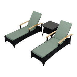 Harmonia Living - Arbor 3 Piece Modern Outdoor Reclining Chaise Lounge Set, Spa Cushions - Table for two. Create the perfect escape on your deck or patio with this three-piece set. It includes two reclining chaises and an end table to hold your morning coffee or 5- o'clock cocktail. Each piece is made of high-density polyethylene that weathers the elements beautifully.