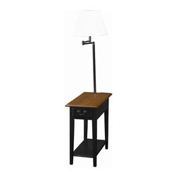 Leick Furniture - Favorite Finds Chairside Lamp Table w Shelf & - Open display shelf. Bell shaped, Ecru shade. Enclosed drawer storage. Durable solid wood top. Swing arm lighting. Solid hardwood. Minimal assembly required. 23.5 in. W x 12 in. D x 57 in. HThis chairside silhouette stands at your service beside recliners and upholstery where space is short. Layered with useful features rising up from the open display shelf, enclosed drawer storage, durable solid wood top, and finally the convenient, swing arm lighting at the perfect height for reading.