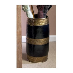 "Dessau Home - Umbrella Stand in Antique Brass and Black Mor - Made from brass. Made in India. 9 in. Dia. x 18 in. HValue has always been an essential ingredient at Dessau Home. ""Essentials"" represents a collection of well-appointed yet affordable home furnishings with a unique traditional styling that appeals to most transitional and contemporary home decorating needs."