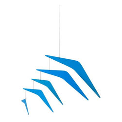 Ekko Workshop - Vectored Array Mobile - Blue - Like a flock of abstract birds or planes, this mobile has a look of organized flight as it hangs in the air, angling toward the horizon. The modern design looks subtle in white or whimsical in bright red or blue. Hang it from a high ceiling and it will draw the eye and the spirit up, up and away.