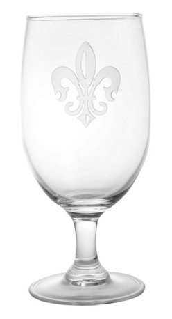 Rolf Glass - Grand Fleur De Lis Iced Tea 16oz, Set of 4 - Whether it's black, green or a tropical blend, these iced tea glasses crafted from cut glass hold just enough to quench any thirst. A single elegant fleur-de-lis is sand-etched on the crystal.