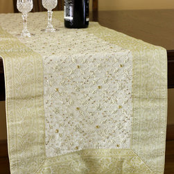 """Elegant Table Runners - """"Mystic Dabka"""" Beige color. Heavily hand crafted and sophisticated Indian design. Exclusive from the Banarsi Collection. White Beige"""