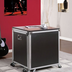 Powell Rock and Roll Cube Desk - This is the coolest little desk. — yes, it's a desk. It features two seats and a sturdy tabletop, is mounted on casters for easy movement, and folds up for storage.