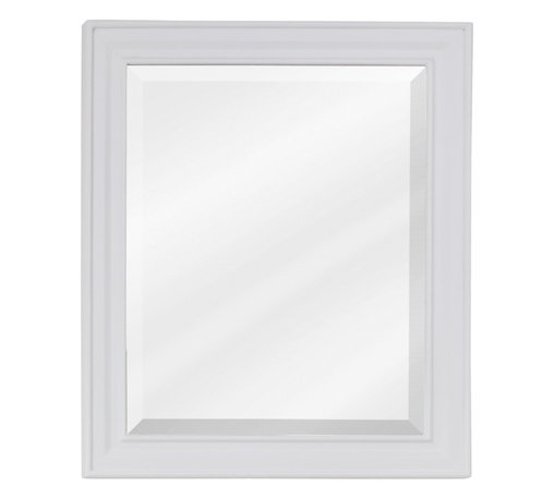 """Hardware Resources - Lyn Design MIR094 Wood Mirror - 20"""" x 24"""" White mirror with beveled glass"""
