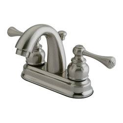 "Kingston Brass - Satin Nickel Two Handle 4"" Centerset Lavatory Faucet with Retail Pop-up KB5618BL - Two Handle Deck Mount, 3 Hole Sink Application, 4"" Centerset, 3 hole 4"" center spread installation, Fabricated from solid brass material for durability and reliability, Premium color finish resist tarnishing and corrosion, 1/4 turn On/Off water control mechanism, 1/2"" IPS male threaded shank inlets, Duraseal washerless cartridge, 2.2 GPM (8.3 LPM) Max at 60 PSI, Integrated removable aerator, 3-5/8"" spout reach from faucet body, 5"" overall height.. Manufacturer: Kingston Brass. Model: KB5618BL. UPC: 663370034046. Product Name: Two Handle 4"" Centerset Lavatory Faucet with Retail Pop-up. Collection / Series: VINTAGE. Finish: Satin Nickel. Theme: Classic. Material: Brass. Type: Faucet. Features: Drip-free washerless cartridge system"