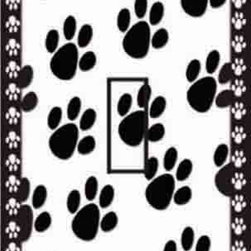 IdeaStix - Dog Paw Prints Single Toggle Peel and Stick Switch Plate Cover - SwitchStix transforms an ordinary switch plate into beautiful art decorations.  Made from proprietary rubber-resin, Premium SwitchStix Peel and Stick Decor offers a quick and easy solution for decorating plain switch plates.  With features like water/heat/steam-resistant, nontoxic, washable, removable and reusable, it is ideal for any room in the house or office.  SwitchStix fits standard size switch plates and applies right over the switch plate and it even covers the screw holes.  Suitable for standard size non-porous and smooth switch plates.  Discard mid-section for toggle switch placement.  Surface can be washed with most household cleaning products.